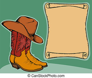 western background with cowboy boots and hat. Vector color illustration