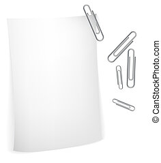 White paper with paperclips