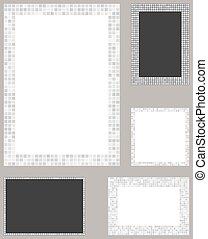 White pixel mosaic page layout border template set