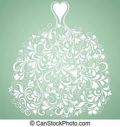 White wedding dress vintage vector silhouette