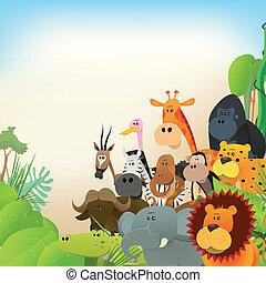 Illustration of cute various cartoon wild animals from african savannah, including lion, gorilla, elephant, giraffe, gazelle, monkey and zebra with jungle background