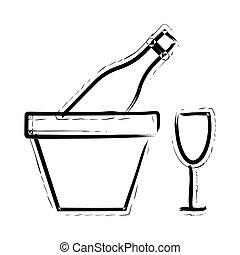wine hand drawn icon