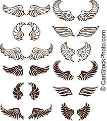 Line art angel wing flight symbols in a wide range of styles.