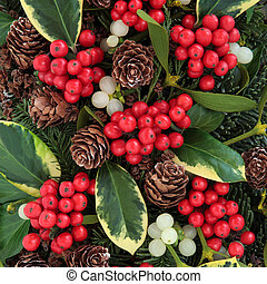Winter fauna with variegated holly, ivy, mistletoe and blue spruce.