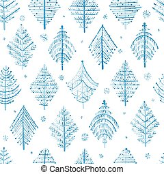 Winter Forest. Abstract geometric trees. Seamless Pattern for your design