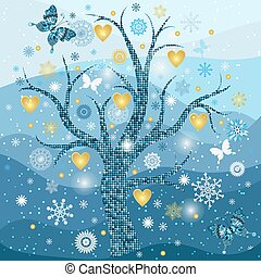Winter frame with tree, snowflakes and golden hearts