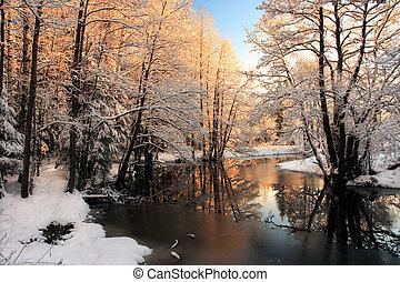 Winter river sunrise light reflection in winter season