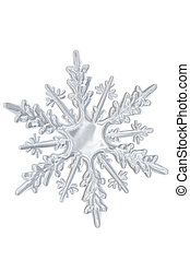 Winter transparent snowflake isolated on white background.
