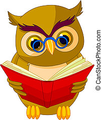 Fully editable vector illustration of a cartoon wise owl.
