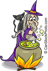 Cartoon Illustration of Funny Fantasy or Halloween Witch with Black Cat Cooking a Magic Mixture