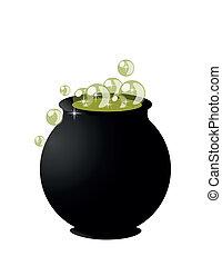 Witch?s cauldron on pot on halloween