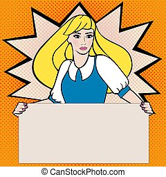 Woman and poster pop art style Vintage Comic