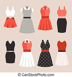 Woman dress in vintage style, flat design vector