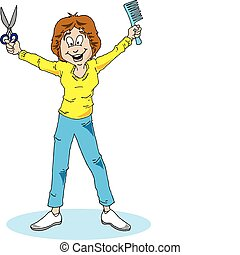 Vector image of a woman hair stylist holding a comb and scissors.
