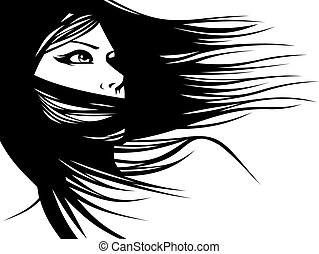 woman head and their hair (hair stylist vector) isolated on the white background