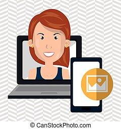woman laptop smartphone social