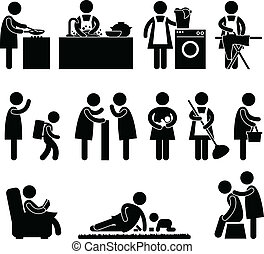 A set of pictogram about a woman daily activity.