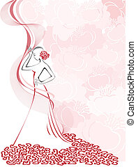silhouette of a slender woman in a pink floral whirlwind