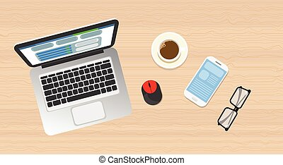 Workplace Wooden Desk Top Angle View Laptop, Phone Flat Vector Illustration
