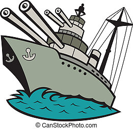 Illustration of a world war two naval battleship boat with big guns at sea done in cartoon style on isolated background.