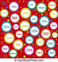 Wrapping paper with sold and discounds adverts in colored circles