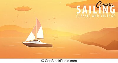 Yacht club and sailing sport banner. Sea travel. Vector illustration.