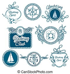 Yachting sketch emblems set