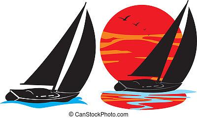 under canvas, sail across the sea, sea voyage