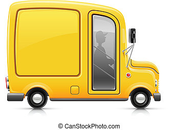 yellow delivery car