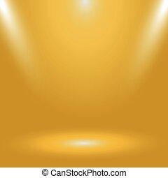 Yellow panoramic studio fon with white glow - Vector