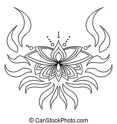 Zen lotus with curls and waves, outline symbolic flower for design