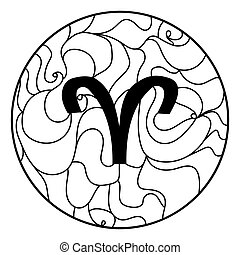 Zodiac sign Aries, Coloring page with horoscope symbol and ornate lines